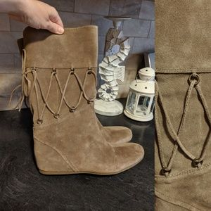 NINE WEST LEATHER STRAPS KNEE HIGH BROWN BOOTS